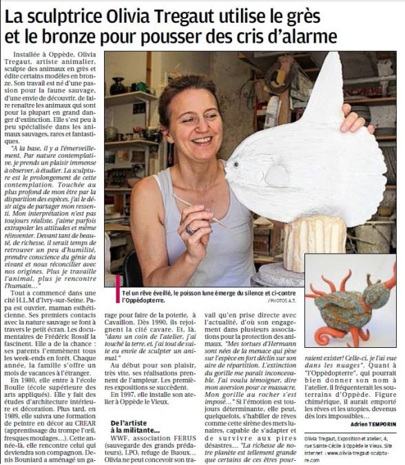 revue de presse La provence sculptrice olivia tregaut grès bronze