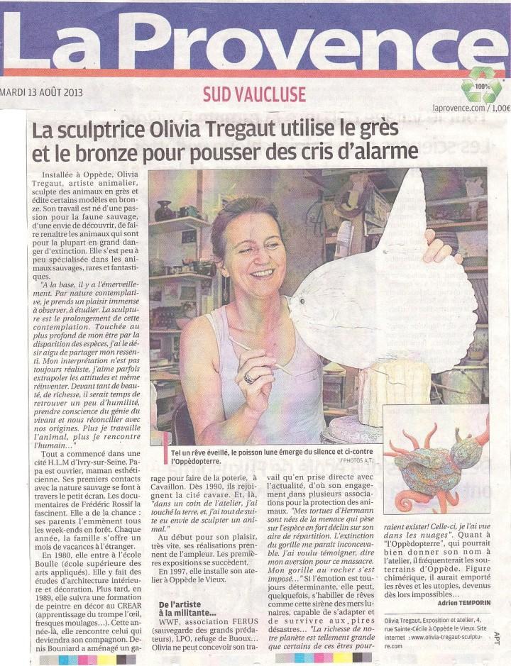 revue de presse article journal La provence sculptrice olivia tregaut grès bronze