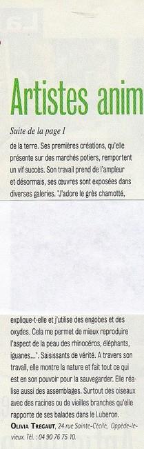 article de presse olivia tregaut Le Fémina La Provence octobre 2011 Oppède