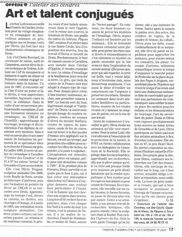 article de presse olivia tregaut Le comtadin octobre 1998 Art et Talent conjugués
