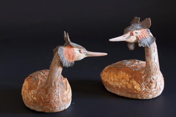 oiseaux,oiseau d'eau,sculpture de grèbe,grèbes huppés,parade amoureuse
