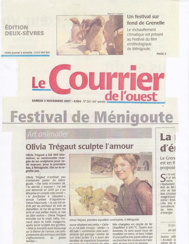 article de presse Le courrier de l'ouest novembre 2007 Olivia Tregaut sculpte l'Amour