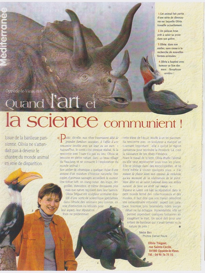article de presse olivia tregaut Art et Décoration 2001 Quand l'Art et la Science communient!