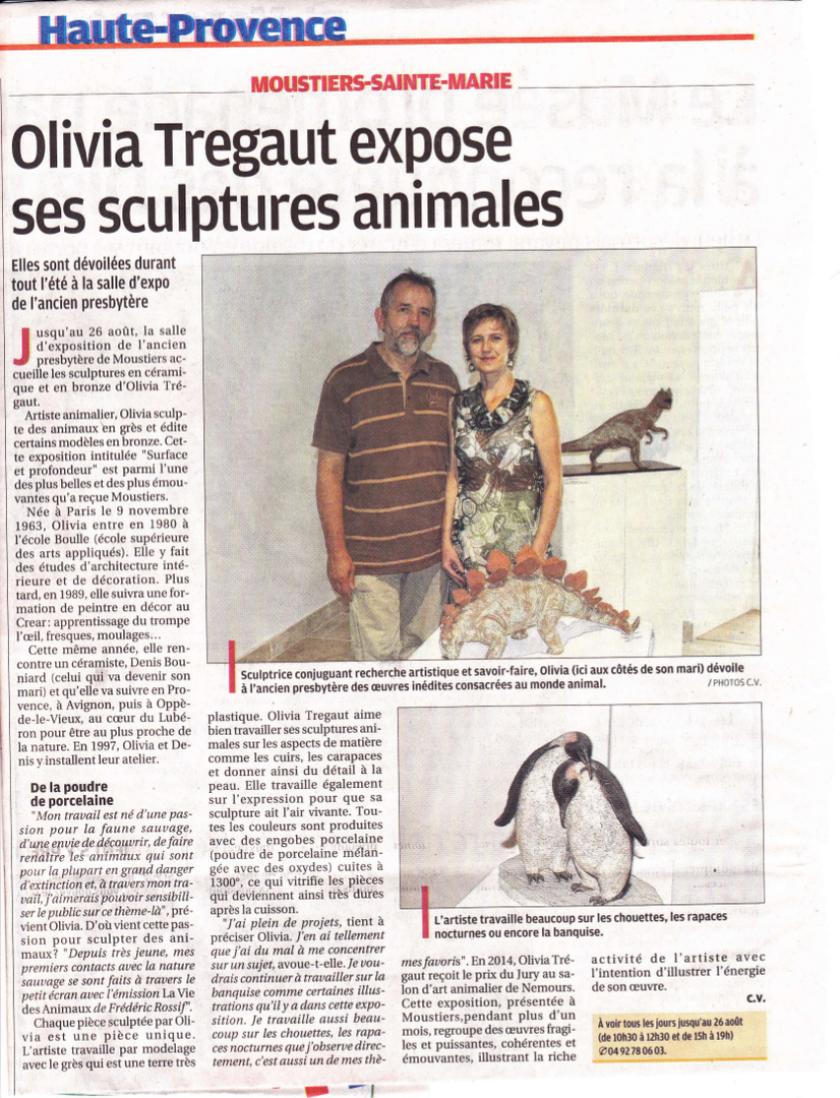 presse,article de presse, article sur olivia tregaut,article de la provence sur olivia tregaut
