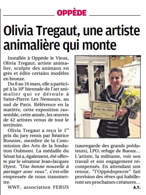 article de presse La Provence,presse,article sur olivia tregaut,presse olivia tregaut, article exposition Saint Pierre les Nemours